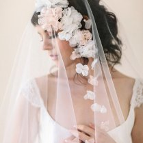 Silk Flower Wedding Veil, Bridal Veil With Flowers, Ivory, White