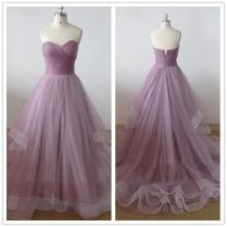 Simple Purple Wedding Dresses Sweetheart A Line Chapel Train Tiers