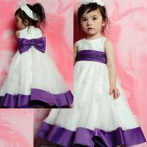 Simple Scoop Neckline With Bowknot Satin Sash And Petals Adornment