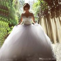Sparkly See Through Crystal Wedding Dress 2015 Ball Gown Pearls