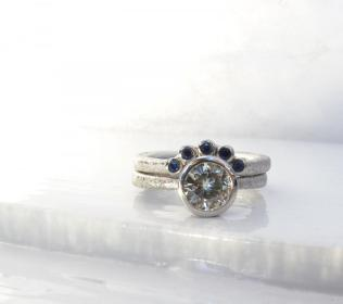 Star Dust Low Profile Engagement Ring And Fitted Wedding Band