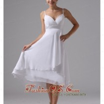 Straps Simple Short Wedding Dress Custom Made Chiffon