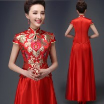 Symmetrical Design Red Brocade Traditional Chinese Wedding Dress