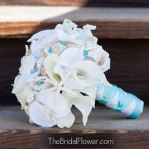 Tiffany Blue Seashell Bouquet Orchids Calla Lilies Roses