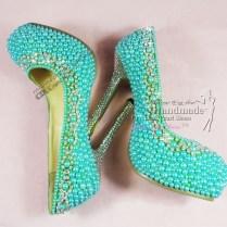 Turquoise Wedding Shoes Ladies High Heel Fashionteal Aqua Pearl