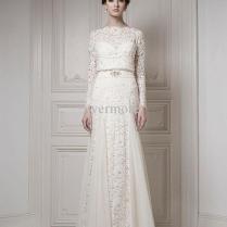 Vintage Bridal Gown Jewel A Line Satin Faced Chiffon Train Long