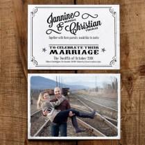 Vintage Photo Postcard Wedding Invitation