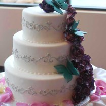 Wedding Cake 3 Tier Cascade Waterfall Butterflies Blue Aqua Purple