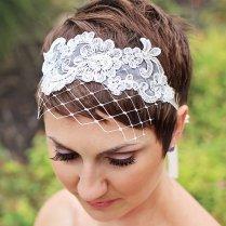 Wedding Hairstyle Brides Pixie Haircut Brown Hair With Veil