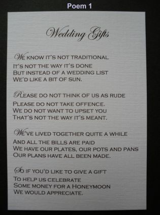 Wedding Poems Asking For Money Instead Of Gifts