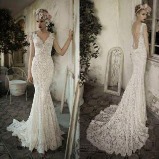 White Ivory Open Back Lace Wedding Dress Custom Size 2 4 6 8 10 12