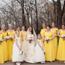 Yellow And Grey Bridesmaid Dresses