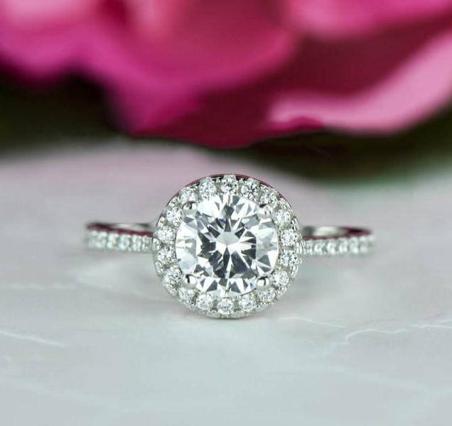 1 5 Ctw Round Cut, Classic Halo Wedding Ring, Man Made Diamond