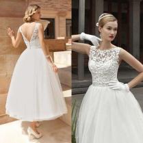2015 Vintage Tea Length Wedding Dress A Line Lace Tulle Short