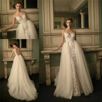 2016 Berta Bridal Lace Wedding Dresses With Removable Train