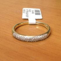 3 Rows Diamonds Anniversary Wedding Band Micro Pave Yellow Gold
