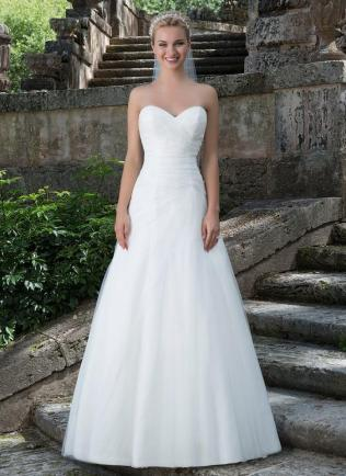Asymmetrically Ruched Sweetheart Neckline Tulle A
