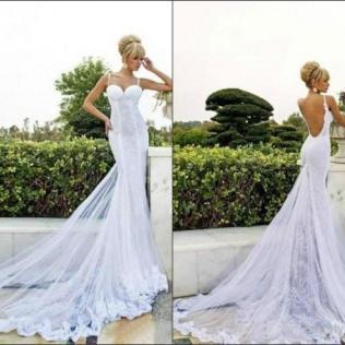 Backless Beach Wedding Dress