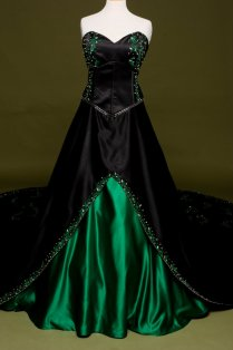 Black Wedding Dress With Green Embroidery , Custom Made In Your