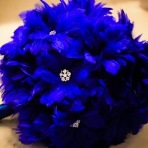Blue Feather Bridal Bouquet
