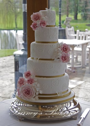 Brush Embroidery 5 Tier Wedding Cake