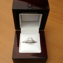 Cherry Wood & Off White Leather Engagement Ring Box Great