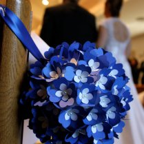 Cobalt Blue And White Pomander Paper Flowers Kissing Ball
