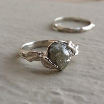 Dawn Vertrees Raw Uncut Rough Engagement Wedding Rings Leaf And