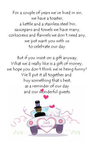 Details About Wedding Money Poem Cards N11 Ideal Way To Request