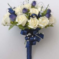 Ivory Rose & Blue Thistle Brides Wedding Bouquet With Crystals