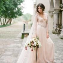 La Vie En Rose Blush Pink Tulle Wedding Gown With Long Train