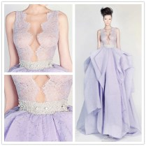 Lavender And White Wedding Dress Sexy Mermaid Wedding Gown Xt