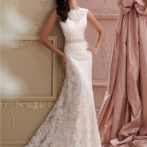 Mermaid High Neck Deep V Back Lace Glitter Wedding Dress