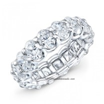 Modern Style Eternity Oval Shape Diamond Wedding Band