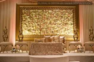 Muslim Indian Wedding Reception Decor With A Grand Floral Backdrop