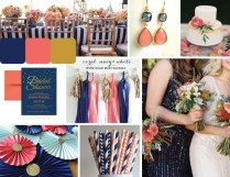 Navy Coral Nautical Wedding Themeboard
