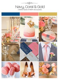 Navy, Coral And Gold Wedding Inspiration Board, Color Palette