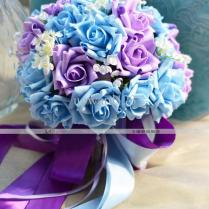 New Blue And Purple Wedding Bouquet