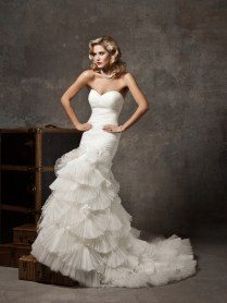 Pleated Mermaid Wedding Dress With Organza Fan Skirt And Strapless