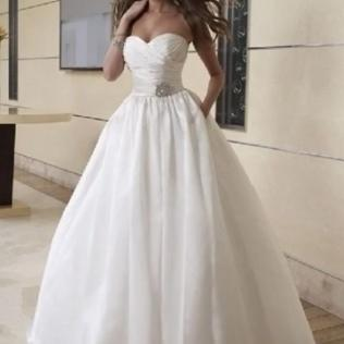 Pleated Taffeta Strapless Sweetheart Ball Gown 2 In 1 Wedding