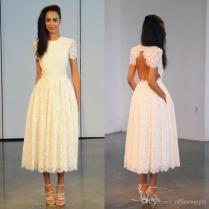 Popular Lace Tea Length Wedding Dress