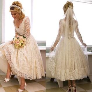 Popular Vintage Tea Length Wedding Dress