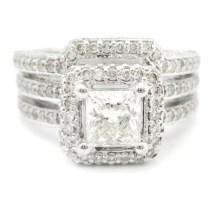 Princess Cut Antique Style Double Row Diamond Engagement Ring