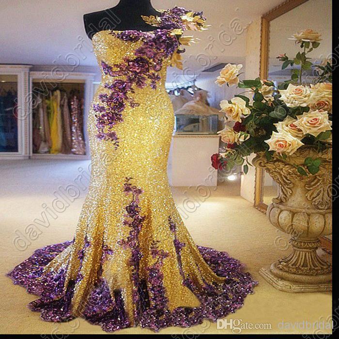Purple And Gold Wedding Dress