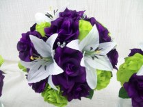 Purple Lime Green Or Apple Green Roses And White Tiger