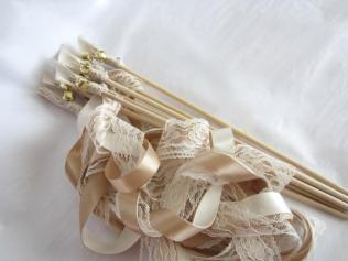 Ribbon Wands, Wedding Wands, 3 Ribbons And Bell, Barn Rustic