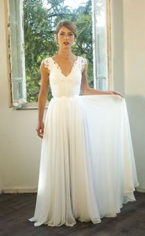 Romantic Vintage Inspired Wedding Gown, Custom Made Chiffon