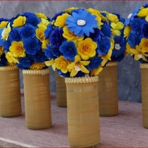 Royal Blue And Yellow Wedding Bouquets