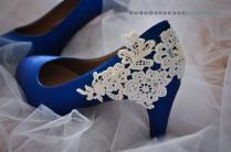 Royal Blue Wedding Shoes Lace Wedding Shoes Lace Applique Pearl