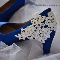 Royal Blue Wedding Shoes Lace Wedding Shoes Lace Applique Pearl